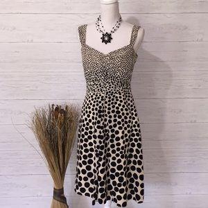 Ann Taylor Black & Cream Polka Dot Silk Dress - 4